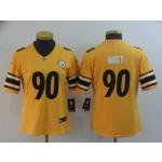 NFL Women Steelers Watt #90 Gold Inverted Legend Jersey