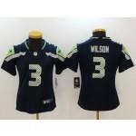NFL Women Seattle Seahawks Russell Wilson #3 blue Jersey
