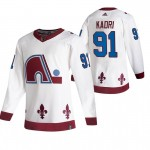 Colorado Avalanche #91 Nazem Kadri White Men's Adidas 2020-21 Reverse Retro Alternate NHL Jersey