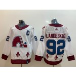 Colorado Avalanche #92 Gabriel Landeskog White Men's Adidas 2020-21 Reverse Retro Alternate NHL Jersey