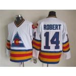 Men's Colorado Avalanche #14 Rene Robert White throwback Jersey