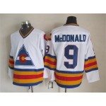 Men's Colorado Avalanche #9 Lanny McDonald White throwback Jersey