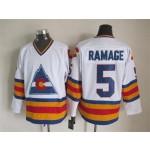 Men's Colorado Avalanche #5 Rob Ramage White throwback Jersey