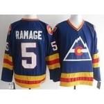 Men's Colorado Avalanche #5 Rob Ramage Sky blue throwback Jersey