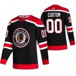 Chicago Blackhawks Custom Black Men's Adidas 2020-21 Reverse Retro Alternate NHL Jersey (Name and number remark in comment column)