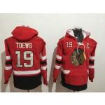 NHL Chicago Blackhawks #19 Jonathan Toews Red All Stitched Hooded Sweatshirt
