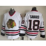 Men's Chicago Blackhawks #18 Denis Savard White Throwback CCM Jersey