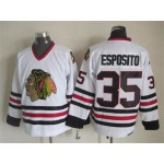 Men's Chicago Blackhawks #35 Tony Esposito White Throwback CCM Jersey