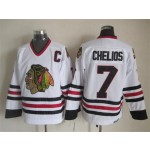 Men's Chicago Blackhawks #7 Chris Chelios White Throwback CCM Jersey