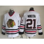 Men's Chicago Blackhawks #21 Stan Mikita White Throwback CCM Jersey