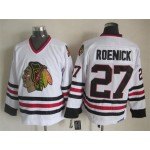 Men's Chicago Blackhawks #27 Jeremy Roenick White Throwback CCM Jersey
