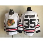 Men's Chicago Blackhawks #35 Tony Esposito 1957-58 White CCM Throwback Jersey
