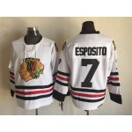 Men's Chicago Blackhawks #7 Chris Chelios 1957-58 White CCM Throwback Jersey