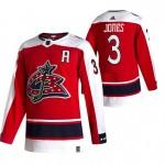 Columbus Blue Jackets #3 Seth Jones Red Men's Adidas 2020-21 Reverse Retro Alternate NHL Jersey