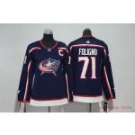 Women Columbus Blue Jackets #71 Nick Foligno Navy Adidas Jersey