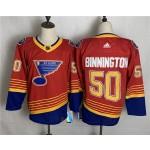 Men's St. Louis Blues #50 Jordan Binnington Red 2020-21 Reverse Retro Alternate NHL Adidas Jersey