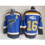 Men's St. Louis Blues #16 Brett Hull 2014 Blue Throwback CCM Jersey