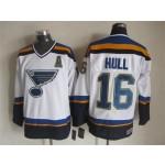 Men's St. Louis Blues #16 Brett Hull 2014 White Throwback CCM Jersey