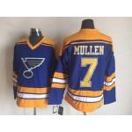Men's St. Louis Blues #7 Joe Mullen Blue Throwback CCM Jersey