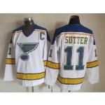Men's St. Louis Blues #11 Brian Sutter White Throwback CCM Jersey