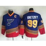 Youth St. Louis Blues #99 Wayne Gretzky 1995 Blue Throwback CCM Jersey
