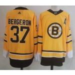 Boston Bruins #37 Patrice Bergeron Yellow Men's Adidas 2020-21 Reverse Retro Alternate NHL Jersey