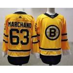 Boston Bruins #63 Brad Marchand Yellow Men's Adidas 2020-21 Reverse Retro Alternate NHL Jersey