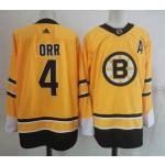 Boston Bruins #4 Bobby Orr Yellow Men's Adidas 2020-21 Reverse Retro Alternate NHL Jersey