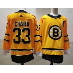 Men's Boston Bruins #33 Zdeno Chara Yellow Adidas 2020-21 Reverse Retro Alternate NHL Jersey