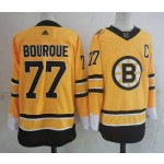 Men's Boston Bruins #77 Ray Bourque Yellow Adidas 2020-21 Reverse Retro Alternate NHL Jersey