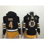 NHL Boston Bruins #4 Bobby Orr Black All Stitched Hooded Sweatshirt