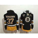 NHL Boston Bruins #37 Patrice Bergeron Black All Stitched Hooded Sweatshirt
