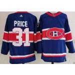 Montreal Canadiens #31 Carey Price Blue Men's Adidas 2020-21 Reverse Retro Alternate NHL Jersey