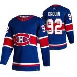 Montreal Canadiens #92 Jonathan Drouin Blue Men's Adidas 2020-21 Reverse Retro Alternate NHL Jersey