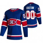 Montreal Canadiens Custom Blue Men's Adidas 2020-21 Reverse Retro Alternate NHL Jersey (Name and number remark in comment column)