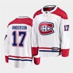 Men's Montreal Canadiens #17 Josh Anderson 2020-21 Away White Player Adidas Jersey