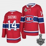 Men's Montreal Canadiens #14 Nick Suzuki Red Home Authentic 2021 NHL Stanley Cup Final Patch Jersey