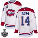 Men's Montreal Canadiens #14 Nick Suzuki White Road Authentic 2021 NHL Stanley Cup Final Patch Jersey
