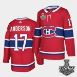 Men's Montreal Canadiens #17 Josh Anderson Red Home Authentic 2021 NHL Stanley Cup Final Patch Jersey