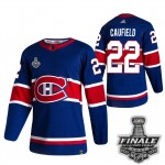 Men's Montreal Canadiens #22 Cole Caufield Blue Road Authentic 2021 NHL Stanley Cup Final Patch Jersey