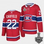 Men's Montreal Canadiens #22 Cole Caufield Red Home Authentic 2021 NHL Stanley Cup Final Patch Jersey