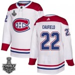 Men's Montreal Canadiens #22 Cole Caufield White Road Authentic 2021 NHL Stanley Cup Final Patch Jersey