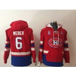 NHL Montreal Canadiens #6 Shea Weber Red All Stitched Hooded Sweatshirt