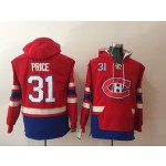 NHL Montreal Canadiens #31 Carey Price Red All Stitched Hooded Sweatshirt