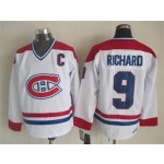 Men's Montreal Canadiens #9 Maurice Richard White Throwback CCM Jersey