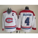 Men's Montreal Canadiens #4 Jean Beliveau White Throwback CCM Jersey