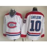 Men's Montreal Canadiens #10 Guy Lafleur White Throwback CCM Jersey
