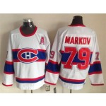 Men's Montreal Canadiens #79 Andrei Markov White Throwback CCM Jersey