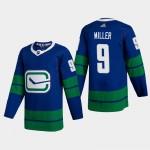 Men's Vancouver Canucks #9 JT Miller Blue Adidas 2020-21 Player Alternate NHL Jersey