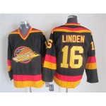 Men's Vancouver Canucks #16 Trevor Linden 1985-86 Black CCM Throwback Jersey